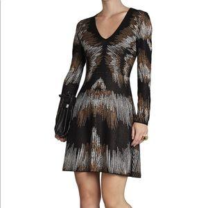 BCBG knit long sleeve black dress S